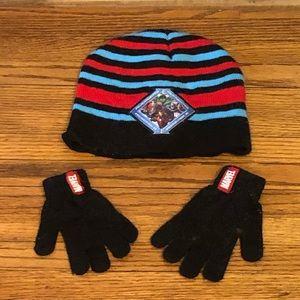 Little Boys Marvel Hat and Glove Set